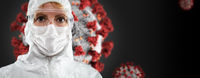 Banner of Female Doctor or Nurse In Medical Face Mask and Protective Gear With Coronavirus Behind