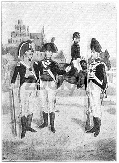 Hanoverian troops (1802). Illustration of the 19th century. Germany. White background.