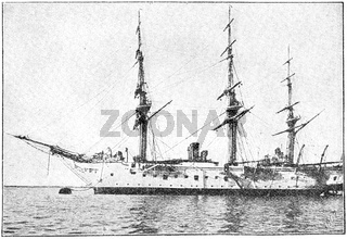 SMS Nixe (1879) - a steam corvette (training ship for naval cadets) built for the German Kaiserliche Marine (Imperial Navy). Illustration of the 19th century. Germany. White background.