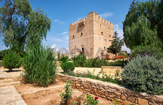 Kolossi Castle with the garden in front of it. Kolossi. Limassol District. Cyprus