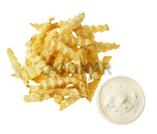 French fries on the white isolated background