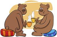 two bears drinking tea cartoon illustration