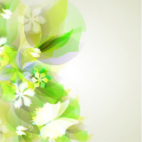 Abstract artistic Background with yellow and green floral elemen