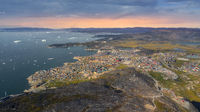 Greenland Ilulissat city harbor famous holiday resort above heaven