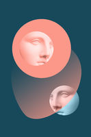 Collage with plaster antique sculpture of human face in a pop art style. Modern creative concept image with ancient statue head. Zine culture. Contemporary art poster. Funky minimalism. Retro design.