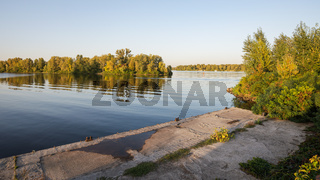 Landing stage on the Dnieper river
