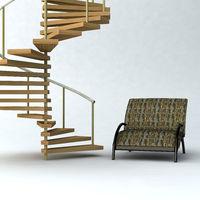 Wendeltreppe und Sessel