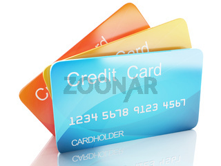 3d credit card on white background