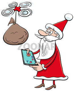 cartoon Santa Claus Christmas character with drone