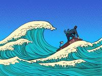 businessman waves of the economic storm crisis