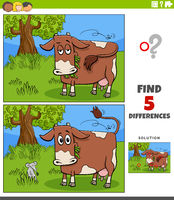 differences educational task for kids with cow on the pasture