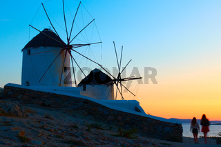Greek rural landscape with windmills