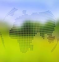 Blurred landscape background with globe map