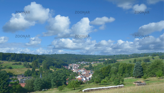 Village of Weibersbrunn in Spessart region,Bavaria,Germany