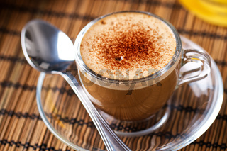 Typical Italian espresso with milk. High quality photo.