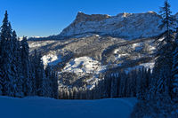 winter landscape beneath the peak Sasso di Santa Croce, Sas dla Crusc, Alta Badia, Dolomites,Italy