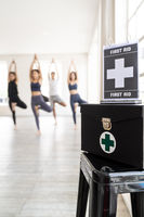 First aid box at yoga class fitness centre