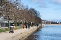 People at The Lakes in Copenhagen, Denmark