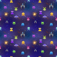 Cute space invaders in pixel art style on deep space background, seamless pattern
