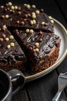 Sweet chocolate cake.