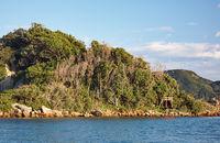 The coastline near Kushimoto with the torii of Shinto shrine. Wakayama prefecture. Honshu. Japan