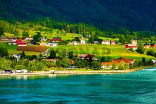 Norway fjord village landscape