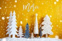 Christmas Trees, Snowflakes, Yellow Background, Merci Means Thank You