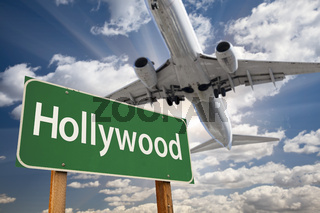 Hollywood Green Road Sign and Airplane Above