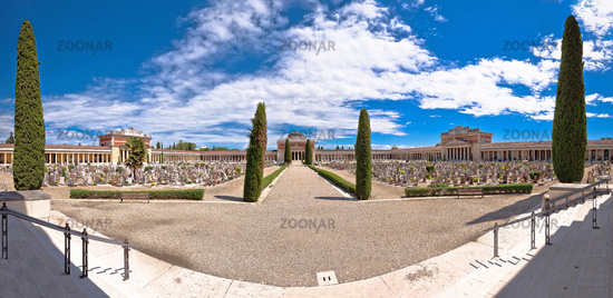 Arcades of Verona city cemetery panoramic view