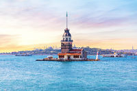 Maiden's Tower at sunrise, the Bosphorus straight, Istanbul, Turkey