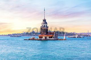 Maiden's Tower at sunrise, the Bosphorus straight, Istanbul, Turkey