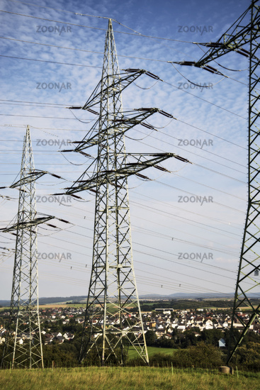 Electricity pylons of a transmission line