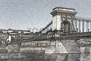Kettenbrücke Budapest, Ungarn   Chain Bridge, Budapest, Hungary
