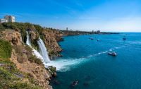 Lower Duden waterfalls, Mediterranean sea coast, Antalya, Turkey.