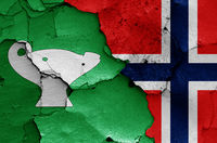 flags of Sandnes and Norway painted on cracked wall