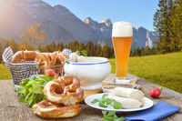 Bavarian beer brunch with veal sausages