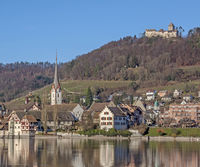 Stone on the Rhine with Monastery of St. Georgen and Castle Hohenklingen