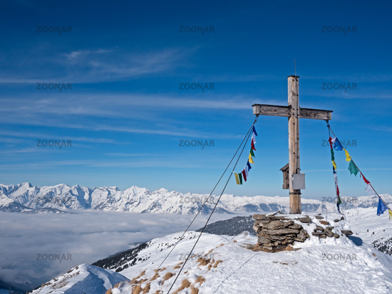 Summit cross in the Alps