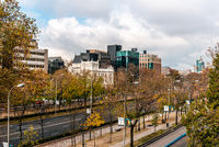 Cityscape of Castellana Avenue in Madrid, Spain