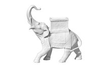 Classical marble elephant statue on a white background
