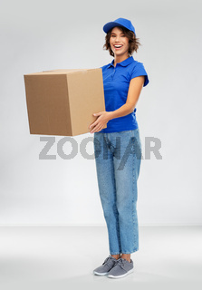 happy smiling delivery woman with parcel box