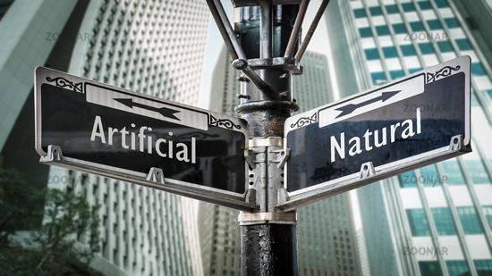 Street Sign Artificial versus Natural