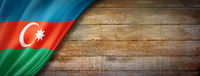 Azerbaijani flag on vintage wood wall banner