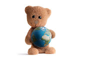 cute fluffy brown teddy bear with planet earth globe. 3d-illustration. elements of this image furnished by NASA