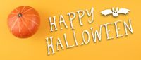 happy halloween banner with squash or pumpkin