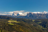 View from Salten mountain to Seiser Alm, South Tyrol