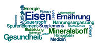 Word Cloud on a white background - Iron - Eisen (German)