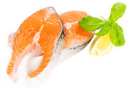 Salmon with basil and lemon isolated, copy space
