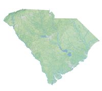 High resolution topographic map of South Carolina