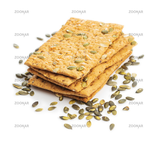 The  crispy bread with pumpkin seeds. Knackebrot
